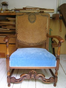 New upholstery on an old armchair